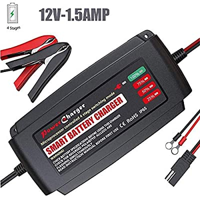 Smart Automatic Battery Charger, Portable Battery Maintainer for Car Boat Lawn Mower Marine Scooter Wheelchair Motorcycle eBike