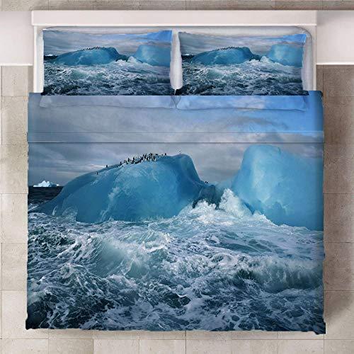 BBQTABZ Juego De Ropa De Cama Iceberg En El Mar con Funda Nórdica De Microfibra Y 2 Fundas De Almohada 200X230Cm