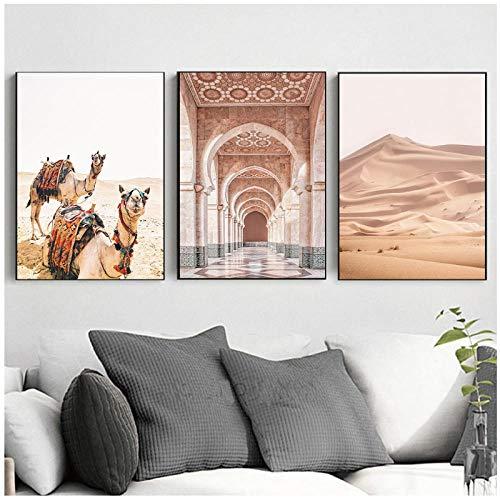 zhaoyangeng Marokko Tür Kamel Wüste Nord Landschaft Poster Und Drucke Wandkunst Leinwand Malerei Wandbilder Für Wohnkultur- 40X60Cmx3 Kein Rahmen