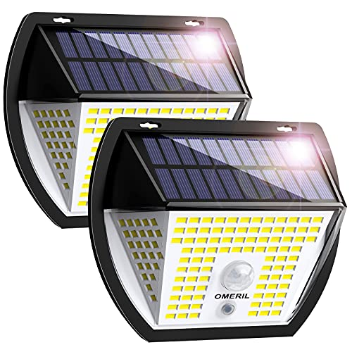 【2021新登場】OMERIL ソーラーライト センサーライト,138LED 3面発光 3つ知能モード,光&人感センサー 太陽光発電 IP65防水 自動点灯/消灯,屋外ウォールライト 壁掛け/庭先/表玄関/駐車場などで活躍,ネジ付き 照明&防災&防犯ライト