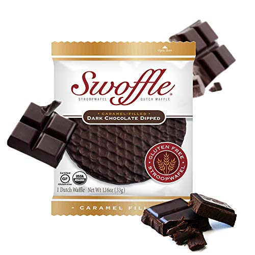 Stroopwafel Dutch Waffle, Gluten Free Waffle Cookies, Organic Individually Wrapped Kosher Waffles, Non GMO, Soy Free, Nut Free, Dark Chocolate Dipped, 14 Count – Swoffle