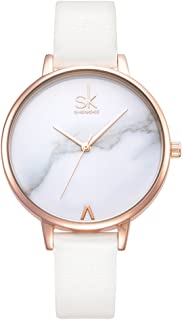 Fashion Marble Dial Watch Women Simply Quartz Watches Leather Band Casual Ladies Wristwatch