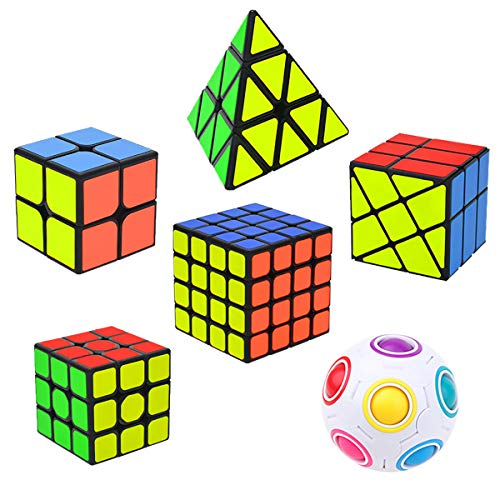 Coolzon Speed Cube Set, Rubix Cube Set, 6 Pack Magic Cubes Pyraminx + 2x2x2 + 3x3x3 + 4x4x4 + Magic Rainbow Ball + Fenghuolun Puzzle Cube Toy Gift for Kids & Adults