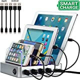 Simicore 4-Port USB Charging Station with 5 Short Charging Cables for Apple & Android Phones, Tablets & Other Devices - with Blue Charging Status Light (Silver)