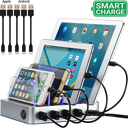 Simicore Charging Station for Multiple Devices, Simicore 4-Port USB Charger Station with 5 Short Mixed Cables for Cell Phones, Smart Phones, Tablets (Silver)
