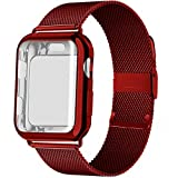Case and Strap for Apple Watch Band 44mm 40mm 42mm 38mm smartwatch Belt Magnetic milanese Loop Bracelet iWatch Series 5 4 3 se 6 (42mm Series 321,red)