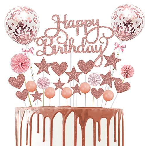 YUQIN 25 Stück Happy Birthday Kuchendeko,Geburtstagstorte Dekoration Kuchendekoration Glitzer Cupcake Topper kuchendeko Geburtstag Kuchen Topper für Kinder Mädchen Junge (Roségold)