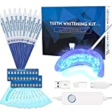Teeth Whitening Kit Professional, Teeth Whitening Strips, Non-Sensitive Stain Remover for White Teeth, Led Accelerator Light,10 of 3 ml Tooth Whiten Gel,15 Min Express Result