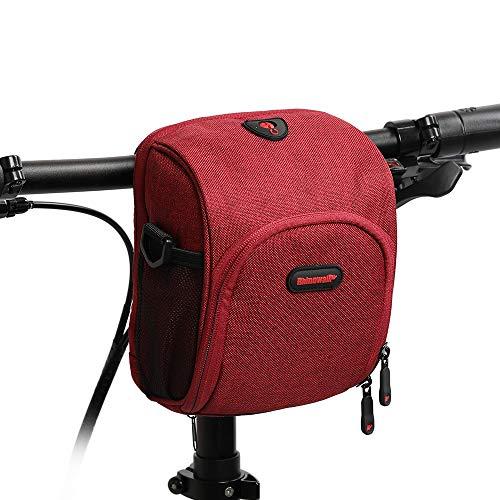 UPANBIKE Fahrrad Lenkertasche, Fahrradtasche Multifunktionale Fahrrad Vorderer Rahmentasche mit Schultergurt und Regen-Abdeckung(Rot)
