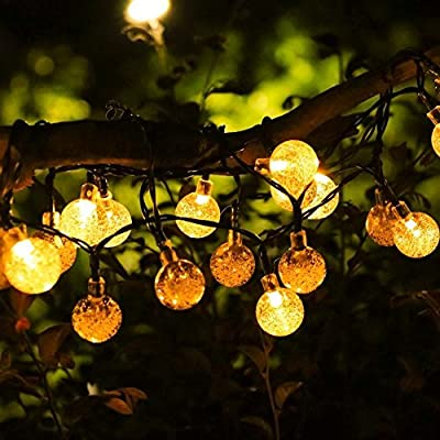 YUNLIGHTS Solar String Lights, 19.7 Feet 40 LED Crystal Ball Fairy Lights, Waterproof Indoor/Outdoor Garden Solar Lights for Patio, Garden, Lawn, Party, Home, Holiday Decorations