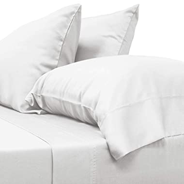 Cariloha Classic Bamboo Sheets | 4 Piece Sheet Set | 100% Viscose from Bamboo Breathable Sheets | Soft Twill Weave, Odor Resistant, Hypoallergenic, Eco-Friendly, Cooling Sheets | 1-Year Limited Quality Warranty (Queen, White)