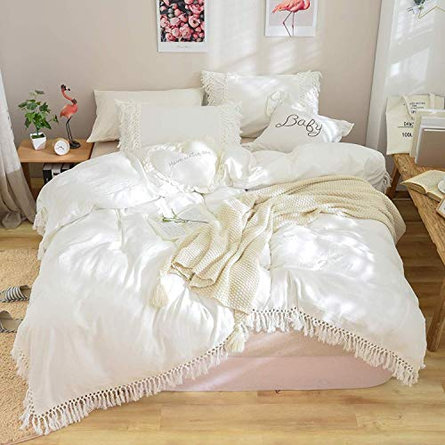 USTIDE White Tassel-Fringe Duvet Cover Set Washable Cotton Quilt Cover Set Boho Quilt Cover King Size