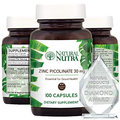 Natural Nutra Zinc Picolinate 30 mg, Double Strength, Raw and Pure, Highly Bioavailable Supplement for Growth, Immune and Thyroid Support, 100 Capsules