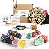Healing Crystals Set, Qallicon 20PCS Chakra Crystals Kit Include 7 Raw & Tumbled Chakra Stones, Lava Bracelet, Selenite, Cage Necklace, Palo Santo, Banded Agate, Crystal Grid for Meditation, Yoga.