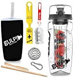 gulp Fruit Infuser Water Bottle 1 Litre Long Rod Tritan Infusion Unit, 235