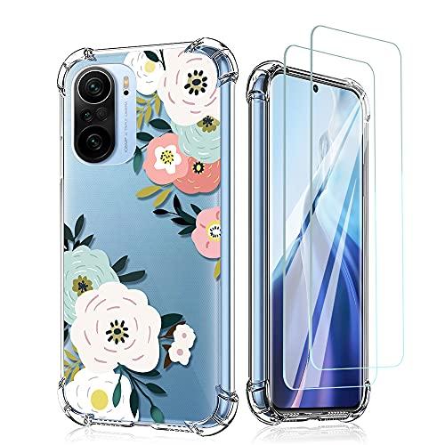 Niboow Funda Compatible con Xiaomi Mi 11i 5G, [con 2 CristalTemplado] TPU Carcasa, Flores Antichoque Cubierta Protectora Compatible con Xiaomi Mi 11i 5G-Rosa/Azul Cielo