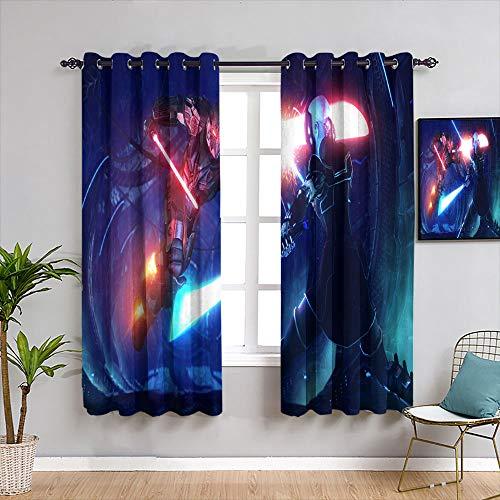 Weilan1999 - Cortinas aisladas de Star Wars para habitaciones de niños, cortinas opacas con ojales, 42 x 137 cm