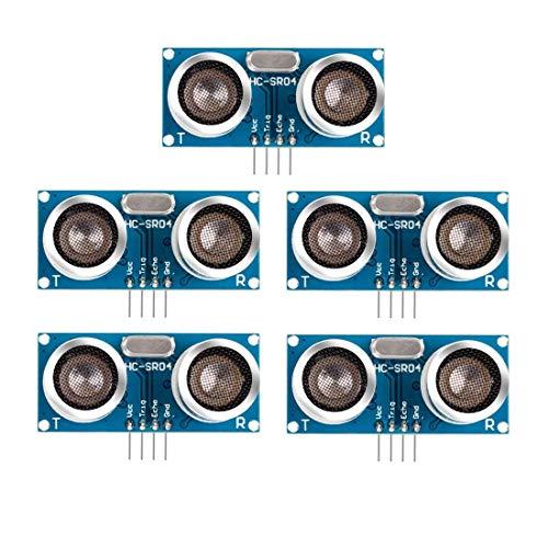 HC-SR04 Ultraschall-Modul Entfernungssensor für Raspberry Pi, Arduino UNO, MEGA2560, Roboter (blau), 5 Stück