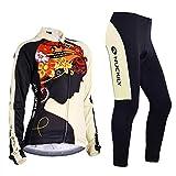 NUCKILY Abbigliamento Ciclismo Maglia da Donna Manica Lunga Pile Termico per Inverno da Bici Cycling Jersey Set Cappotti con Pantaloni Imbottiti 3D