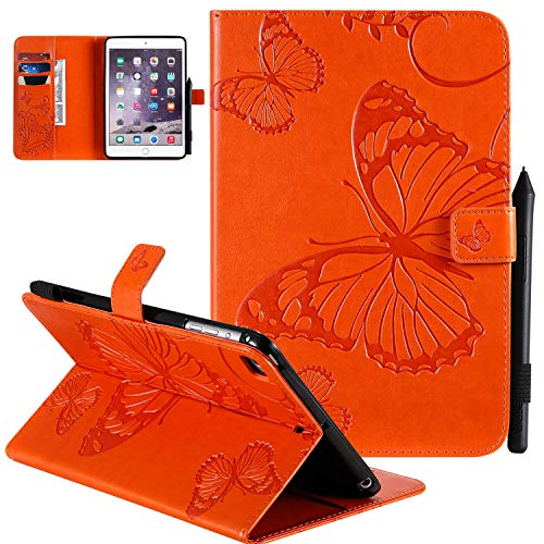 UGOcase iPad Mini 5 (2019)/ iPad Mini 4 / iPad Mini 1 2 3 Case [3D Embossed Butterfly] - PU Leather Flip Stand Smart Cover w/Card Slots Auto Sleep/Wake Feature for Apple iPad Mini 7.9 inch, Orange
