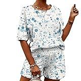Pijamas Suaves De Verano con Estampado Informal para Mujer De Dos Piezas para El Hogar
