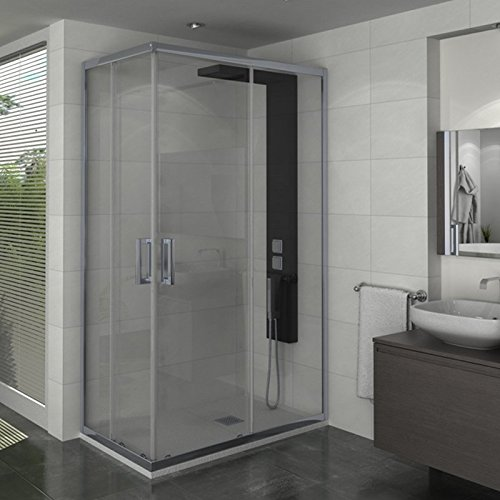 Mampara de ducha de esquina de cristal templado – Manhattan, 100 x 80 cm: Amazon.es: Hogar