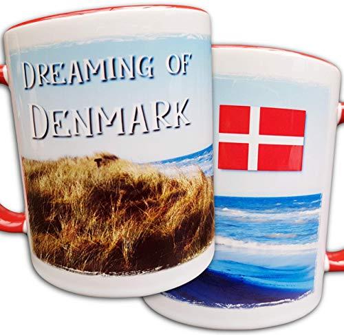 Dänemark Tasse, Dänemark Fan Geschenk, dänische Flagge, Dünen, Strand, Meer, Panorama-Bild, Urlaub in Dänemark