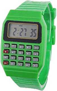ICHQ Children's Computer LED Watch Color Jelly Color Calculation Student Time Calculator Test Calculator Wrist Watch