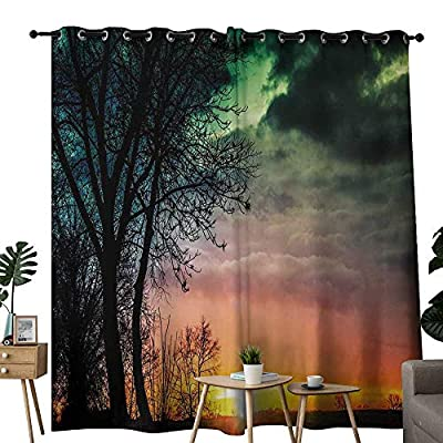 LewisColeridge Bathroom Curtains Sunset,Horizon Sky with Unusual Colored Storm Clouds Up in Air and Tree Silhouette Image,Multicolor,Room Darkening Waterproof Curtains for Bathroom