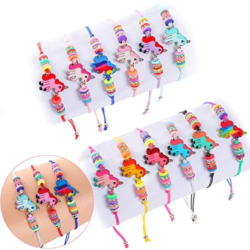 Tacobear 12 PCS Bracelet Amitié Bracelet Licorne Bijoux Enfants Fille Ajustable Faits à la Main Bracelet Tressé pour Aimable Cadeau Anniversaire de Fête Licorne
