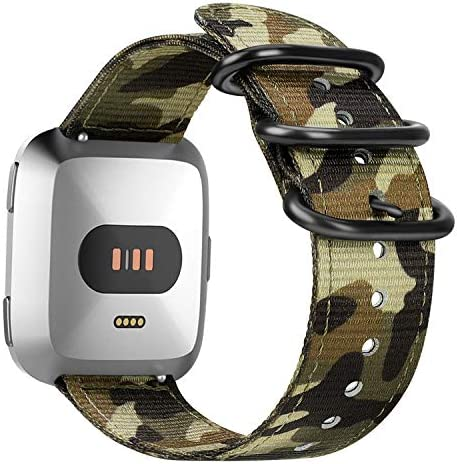 Fintie Bands Compatible with Fitbit Versa 2 / Versa/Versa Lite Edition, Soft Nylon Replacement Strap Wristband Accessories Compatible with Fitbit Versa Smart Watch - Olive