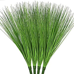 Bird Fiy Artificial Plants 4 PCS Fake Greenery Shrub Bushes UV Resistant Plants Plastic Onion Grass for for Indoor Outdoor Planters Home Garden Office Decoration