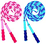 Soft Beaded Jump Rope, Adjustable Tangle - Free Segmented Fitness Skipping Rope for Men, Women and Kids Keeping Fit, Training, Workout and Weight Loss - 9 Feet (2-Pack)