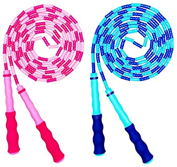 Soft Beaded Jump Rope Adjustable Tangle - Free Segmented Fitness Skipping Rope for Men Women and Kids Keeping Fit Training Workout and Weight Loss - 9 Feet  2-Pack
