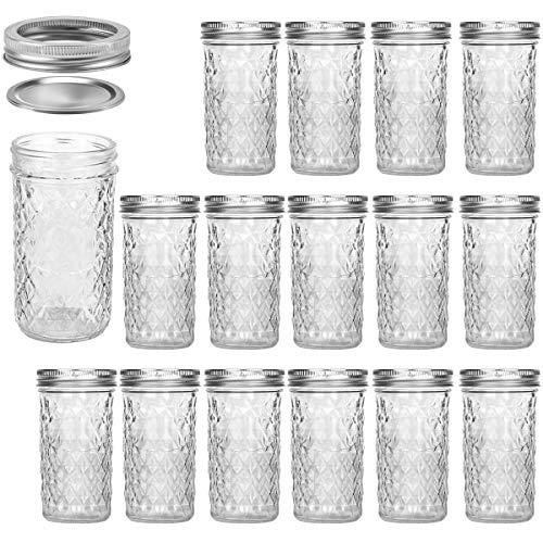 Mason Jars 12 OZ, VERONES Canning Jars Jelly Jars With Regular Lids, Ideal for Jam, Honey, Wedding Favors, Shower Favors, Baby Foods, 15 PACK