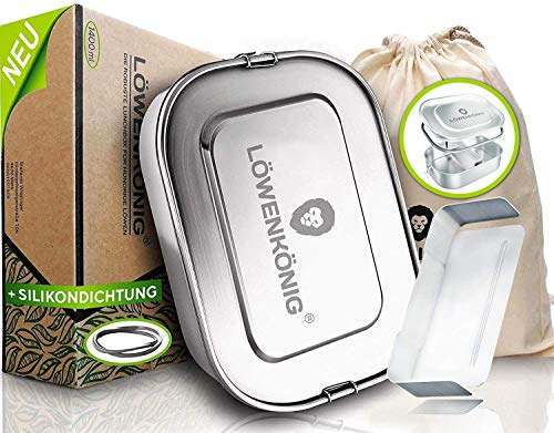 LÖWENKÖNIG® - NEU 2021 - Verbesserte Edelstahl Brotdose Auslaufsicher [1400ml] Die Innovative Vesperbox mit Baumwollbeutel + Trennstreg ist kinderleicht zu Reinigen. - Für Kinder & Erwachsene