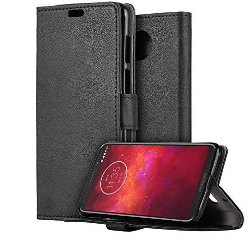 HDRUN Motorola Moto Z3 Play Leder Hülle - Premium PU Leder Flip Tasche Hülle mit Kartensteckplätzen & Ständerfunktion Schutzhülle Handyhüllen für Moto Z3 Play, Schwarz
