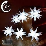 Weihnachtsstern 2.Wahl Lichterkette 6 Sterne Kalt Weiß 11,5cm LED mit Timer und Batterie Innenstern 3D Adventsstern Stern Leuchtstern