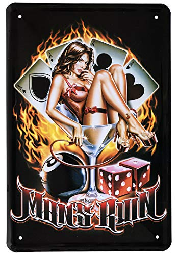 Blechschilder Retro Pin Up Old School 8 Ball Deko Schild - Metallschild Vintage Dekoration Poker Billard Bar Werkstatt - Biker Chopper Hot Rod Style - 20x30cm