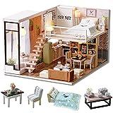 Cuteroom Casa de muñecas de Madera Hecha a Mano con Kit en Miniatura, Estilo dúplex con Modelo de habitación y luz LED
