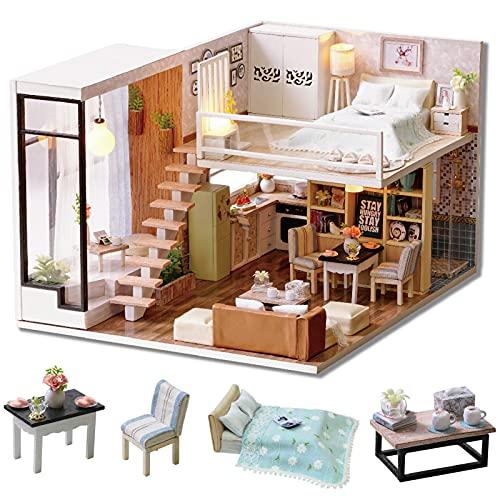 Cuteroom Kit in Miniatura per casa delle Bambole Fai da Te in Legno Realizzata a Mano, Modello di casa su Due Livelli e luci LED