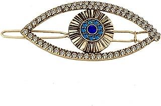 Turkey Blue Evil Eye Hair Clips Headdress Vintage Glitter Rhinestone Devil Eyes Hairpins Barrettes for Women Headwear Jewelry