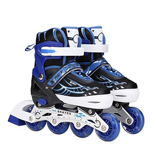 Dream ZX Patines para Hombres Mujeres Niños Patines en línea tamaño Ajustable para Estudiantes universitarios Principiantes Zapatos Planos Elegantes (Color : Blue, tamaño : M 35-38)