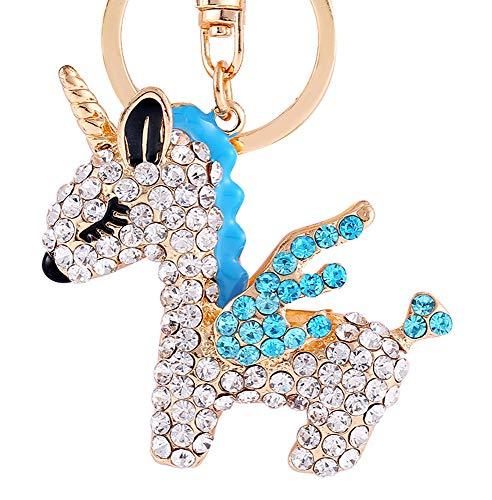 crintiff - Porte-clés Cheval Licorne Bleu Turquoise en cristal. Ornements de sacs a dos pour Femme et Fille.