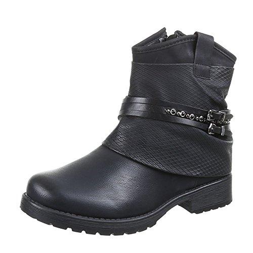 Ital-Design Damen Schuhe, 440-PA, Stiefeletten, GEFÜTTERTE SCHNALLENDEKO Boots, Synthetik in hochwertiger Lederoptik, Schwarz, Gr 37
