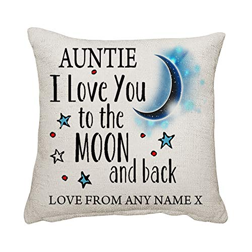 Personalised Mothers Day Auntie I love You To The Moon And Back Birthday present Cushion for...