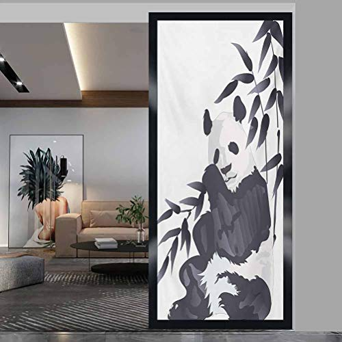 wonderr Window Film Stained Glass Stickers, Panda Giant Panda Bear Sitting in Zoo Traditional Chines, Non Adhesive No Residue Easy Trim Films for Sun Blocking, W23.6xH47.2 Inch