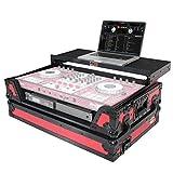 ProX Flight Case for Pioneer DJ DDJ-SX DDJ-RX & Denon MCX7000 With Sliding Laptop Shelf, LED Lights and Wheels - Black on Red Design - XS-DDJSX WLTRB