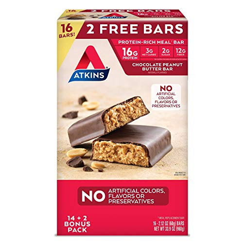 Atkins ProteinRich Meal Bar Chocolate Peanut Butter 16 Count