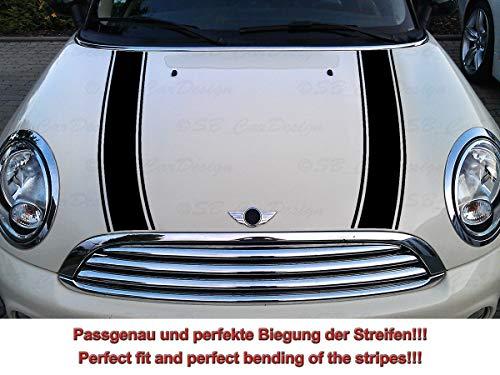 Streifen Stripes Aufkleber Motorhaube für R55 R56 R57 R58 R59 Mini Cooper One Works Jack (Schwarz, Design 2)